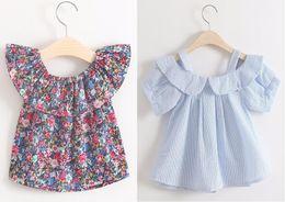 Wholesale Kids Slings - Kids Fashion Tops Baby Kids Shirt Striped floral dot Blouse Short Sleeve Sling Top 3 Pattern For Choosing 5 p l