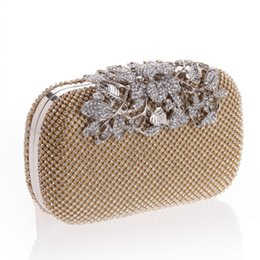 Wholesale Silver Bridal Party Evening Bags - 2017 Fashion BlingBling Diamond Crystals Women Bridal Party handbags Clutch Evening Bags Black Silver Gold with Chains CPA809
