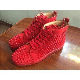 Wholesale Open Dress Shoes - Top Brand Mens Casual shoes Red Bottom Wine red Suede Luxury Spring Autumn Flats Studded Spikes Sneakers High cut Dress shoes