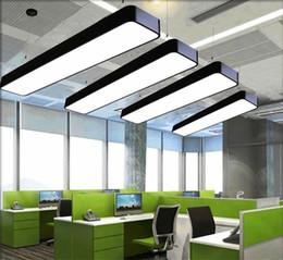 luminária pendente de alumínio Desconto Pendurado fio de alumínio lâmpada do teto escritório bar luzes 4ft luz pingente de teto retangular moderno levou candelabro luminária para escritório