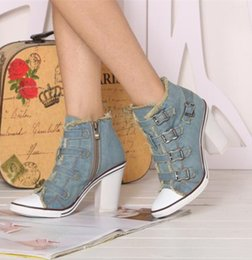 Wholesale Metal Buckled Sneakers - 2017 summer style vintage denim women sneakers metal buckles high heel canvas shoes comfortable chunky heel high top sneakers side zipper