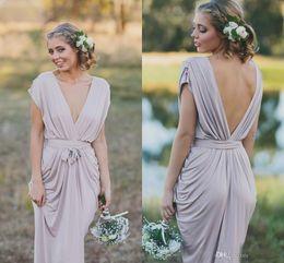 Wholesale Deep Purple Bridesmaid Chiffon Dress - Sexy Cheap Bridesmaid Dresses Gray 2017 Deep V Neck V Back Backless Maid Pleats Floor Length Maid of Honor Dresses Custom Made