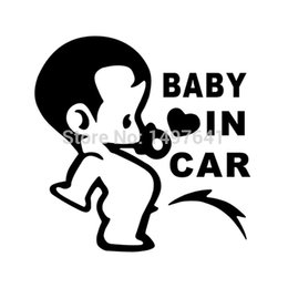 Wholesale Funny Cute Baby Boy - Lovely Funny JDM Child Boys Baby In Car On Board Car Stickers For Window Glass Truck Bumper Camping Cute Vinyl Decals
