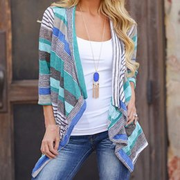 Wholesale Womens Long Sweater Poncho - Wholesale-2016 Boho people Womens Long Sleeve Cardigan sweater mujer striped patchwork feminino knitted casual poncho women plus size