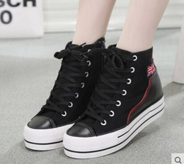 Wholesale Heavy Cotton Canvas Fabric - spring of 2016 increased heavy-bottomed platform shoes shoes high-top canvas shoes female Korean version of casual shoes tide shoes