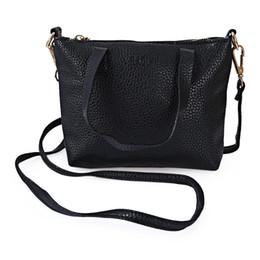 Wholesale Ladies Handbags For Travelling - Lichee Solid Color Travel Business Party Handbag Shoulder Messenger Bag for Lady Tote Bags Solid Shoulder Bag +B