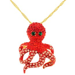 Wholesale Octopus Brooches - Wholesale Red Octopus Crystal Pin Brooch And pendant
