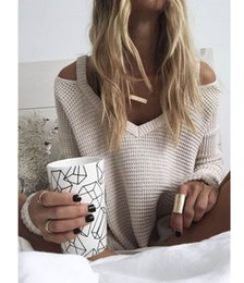 Wholesale Women Loose Fitting Sweaters - Wholesale- winter women's sweaters v-neck pullover off shoulder oversized pull femme loose fitting women jumper trui sueter mujer sweater