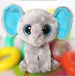 Wholesale Peanuts Doll - Wholesale- Free Shipping! Peanut - Gray Elephant Beanie Boos Stuffed Plush Toy Big Crystal Eyes,Gift for Children,Baby Doll Classic Toys