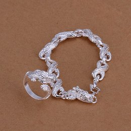 Wholesale Nice Wedding Rings For Men - best gift Little White Dragon silver plated jewelry sets for men WS094,nice 925 silver necklace bracelet earring ring set