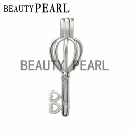 Wholesale key locket pendant - 5 Pieces Gift Cage 925 Sterling Silver Locket Love Wish Pearl Key Heart Pendant Mounting Cage