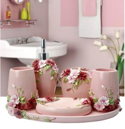 Wholesale Household Glasses - 6pcs Resin Bathroom Accessories bathroom set household items toothbrush holder,Soap Dispensers,Soap Dishes Mediterranea Style