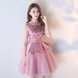 Wholesale Tull Tea Length Dress - Scoop A-Line Lace Prom Dresses 3D Flowers Pleats Peplum Elegant Evening Party Dress Soft Tull Blush Pink Bridesmaid Dresses Backless