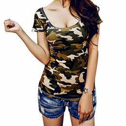Wholesale Apparel Tshirts - Wholesale-Woman tshirts Top 2016 Sexy Deep U Collar T-shirt Nightclub Slim Short Sleeved Elastic shirts Ladies Top Camouflage Apparel Tee
