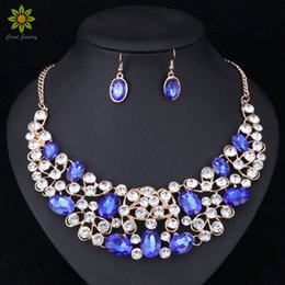 Wholesale American Jewellery Designs - New Design Gold Color Crystal Bridal Jewelry Sets Wedding Prom Party Dress Accessories Charms Jewellery Necklace Earring