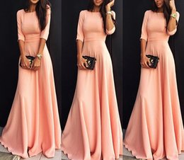 Wholesale Pink Sundress Women - New Arrival Women Short-Sleeve Evening Dresses Party Long Dresses Summer Autumn Women Casual Dresses Ladies Fashion O-Neck Loose Sundress