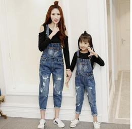 Wholesale Women Suspender Pants - Mother and daughter clothes fashion girls denim Suspender Trouser women Holes Sports style pants 2017 new Autumn Family clothing G0352