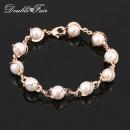 Wholesale Bracelet Setting For Pearl - Vintage Pearl Beads hand Chain Bracelets & Bangles Wholesale 18K Rose Gold Plated Fashion Brand Wedding Party Jewelry For Women DFH171