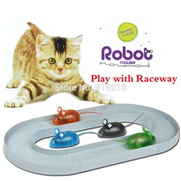 Wholesale Robot Animals Cartoon - Wholesale- Lovely Cartoon Electronic Nanotec-hnology Robot Mouse Model kits with Raceway Gift for Cat Dog,gray,4 Colors ship out random