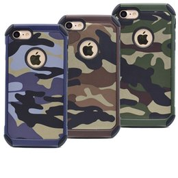 Wholesale Military Camo Case - Fashion Military Camouflage TPU+PC Case For iPhone X 8 8 Plus Army Camo Hybrid Rugged Back Cover For iPhone 6 6S 7 Plus 5 5S SE Coque Capa
