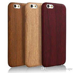 Wholesale Wood Iphone Bumper - For iPhone 7 8 plus Wood case Classic Cool Vintage PU wooden Pattern Design Durable Case Cover bumper for iPhone6 6S Plus 6
