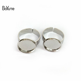 Wholesale Adjustable Blank Rings - BoYuTe 40Pcs 7 Colors Round 10MM 12MM 14MM 16MM 18MM 20MM Cabochon Base Ring Blanks Setting Adjustable Diy Jewelry Accessories