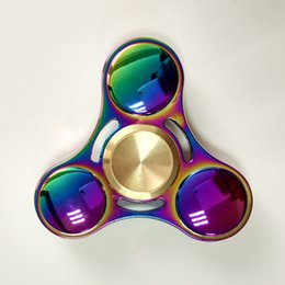 Wholesale Metal Ufo Toy - Turn 7 Minutes Hand R188 Bearings Spinner Finger Rainbow Colorful Decompression Anxiety ADHD EDC Gyro Aluminium Alloy Toys Metal UFO spinner