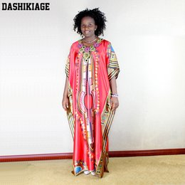 Wholesale Print Silk Maxi Dress - Dashikiage Free Size Artificial Silk Appliques African Kaftan Dress Dashiki Maxi Gown For Women