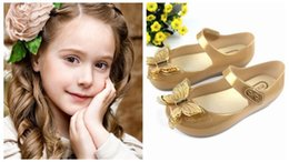 Wholesale Child Girl Summer Bow Shoes - 2017 New Children Shoes Kids Mini Melissa Butterfly Bow Design Sandals 15-18cm Girl Party Dressing Sandals Summer Beach Sandals