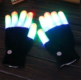 Wholesale Black Magic Costume - 2pcs pair Party LED Gloves Rave Light Flashing Finger Lighting Glow Mittens Magic Black Gloves Party Accessory