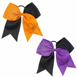 Wholesale Girl Spiders - Halloween Spider Cobweb Rhinestone Patchwork Cheer Bows With Ponytail For Teens New Designer Baby Chidlren Girl Party
