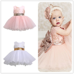 Wholesale High Neck Sleeveless Evening Dresses - high quality Princess Kids dress Baby Girl Sleeveless Evening Tutu Tule Dress First Christening clothes formal wedding Party wear clothes
