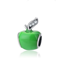Wholesale Jewelry Findings For Bracelets - Wholesale 10pcs Green Apple Enamel Silver Charm Beads Fits European Pandora Jewelry Charm Bracelets Charms Beads DIY Finding For Women Gifts