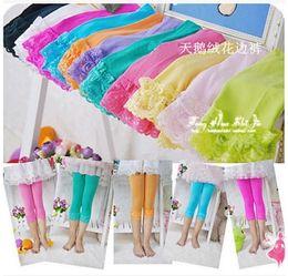 Wholesale Girls Lace Ruffle Leggings - girls leggings 2017 New Lace Sweet ruffle Baby Legging Spring Summer Candy Color Children Tights Dance Kids leggings C023