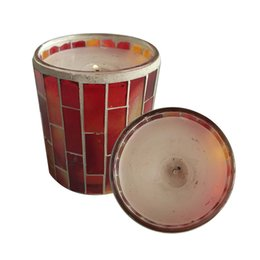Wholesale Glass Blocks Red - 7.3*8.3cm Cylinder Glass Mosaic Crack Candlestick european style red archaize Candle Bars Weddings Matching Block Candle
