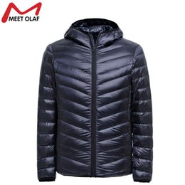 Wholesale Ultralight Parka - Wholesale- Men Winter Coats Jacket Men Ultralight Cotton Down Jackets Outdoors With A Hood Parka Homme With Buggy Bag 2016 BN104WS
