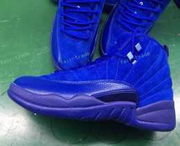Wholesale Camp Deep - Top Quality Retro 12 Royal Blue Suede 12s Premium Deep Blue Suede Basketball Shoes Men Sports Sneakers New Released With Shoes Box US 7-13