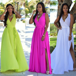 Wholesale Casual Holiday Dresses For Women - 2017 Hot Summer Spring Chiffon Maxi Casual Dresses Women A Line Sexy V Neck Split Long Party Dresses for Holidays FS1743