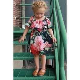 Wholesale England Braces - Girls flower braces skirt Infants baby Peony flower Spaghetti strappy dress for 1-5T