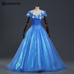 Wholesale Cinderella Costumes Adults - Brand New Blue Adult Gorgeous Cinderella Dress Women Princess Cinderella Halloween Cosplay Party Dress With Long Tail