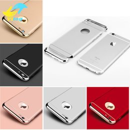 Wholesale Hard Mobile Phone - Luxury 3 In 1 Electroplating Plastic Hard Back Case For Iphone 7 7 Plus samsung s7 s8 s8 plus All Around Protect Cover Mobile Phone Cases