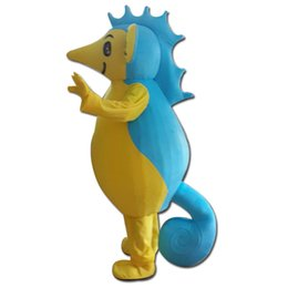 Wholesale Sea Mascot - sm0504 100% real photos of blue and yellow sea horse mascot costumes for adult hippocampi mascot costume suit