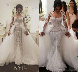 Wholesale Detachable Train Skirt Gowns - 2017 Detachable Skirt Long Sleeve Mermaid Wedding Dresses Luxury Beaded Amazing Embroidery Detail Dubai Arabic Wedding Gown Steven Khalil