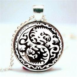 Wholesale Yin Yang Pendants - 10pcs lot Yin and Yang Dragon Pendant, Jewelry, Geekery, Dragon heart Necklace Glass Photo Cabochon Necklace