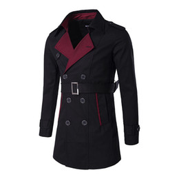 Wholesale Business Man Winter Coat Black - Wholesale- Long Trench Coat Men Winter Autumn Full Sleeve Casual Overcoats Slim Fit Black Business Patchwork Trench Jackets Coat with Belt