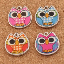 Wholesale Charms - Enamel Owl Charms Pendants L1557 18.8x19.3mm 100pcs lot 4Colors Two-Sided Charm Jewelry DIY Hot sell