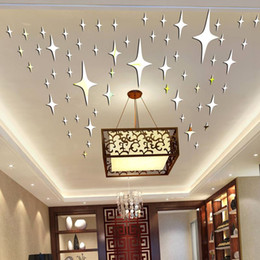 Wholesale Graphic Vinyl - 50 Pieces   Pack Star Shape 3D Acrylic Wall Stickers Living Room Bed Room Ceiling Mirror Wall Sticker Home Decoration P17