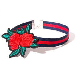 Wholesale Types Choker Necklaces - 3 Type Embroidery Red Rose Choker Necklace Collars Flower Rose Fashion Statement Jewelry for Women Gift 162466