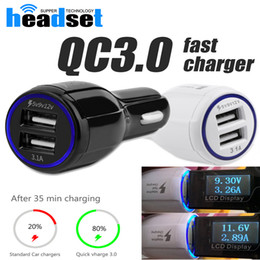 Wholesale Qualcomm Phones - 2017 QC3.0 fast charge 3.1A Qualcomm Quick Charge car charger Dual USB Fast Charging phone charger android charger Samsung Galaxy S8 HTC M9