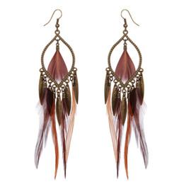 Canada Style exotique boucles d'oreilles exagérées 10PRS plume boucles d'oreilles pour les femmes Vintage alliage gland pendentif charme boucles d'oreilles bijoux de mode cadeau supplier exotic pendants Offre